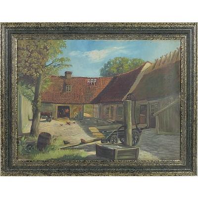 E. Fischer (Danish) Country Barn Scene, Oil On Board