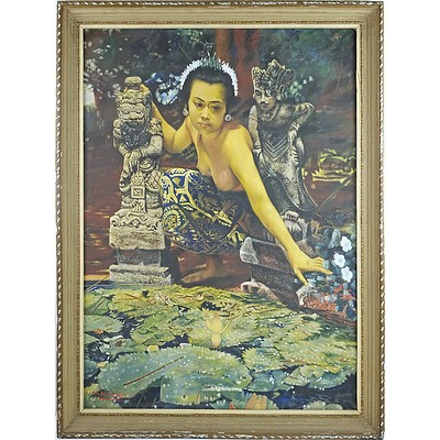 Balinese School, Beauty and Lotus Pond, Oil On Canvas
