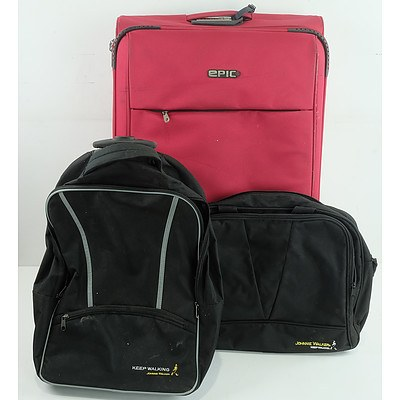Group of Suitcases and Backpacks Including Johnny Walker, Cavalet, Epic and More