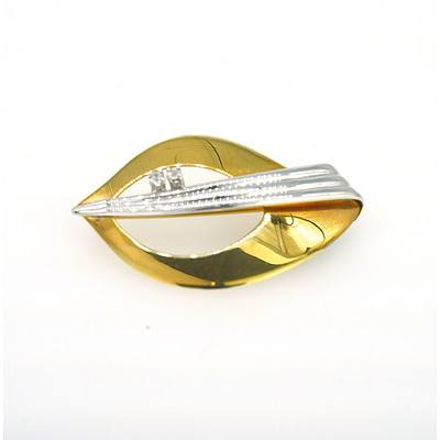 9ct Yellow and White Gold Ladies Brooch with Two White Gems