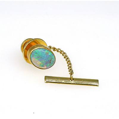 Gold plated Tie Pin with Oval Crystal Opal
