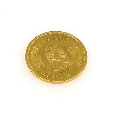 Norwegian 20 Kroner 1874 Gold Coin