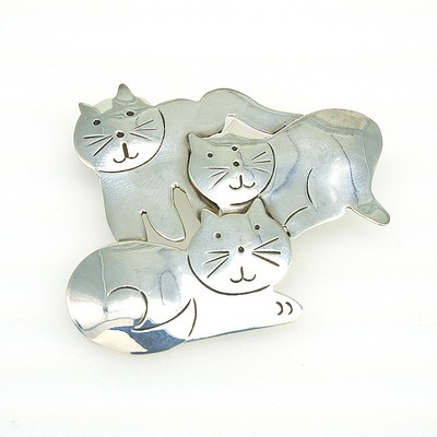 Mexican Sterling Silver Cat Brooch