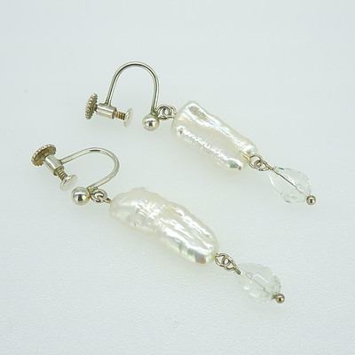 Silver Screw on Earrings with Pearl Drops