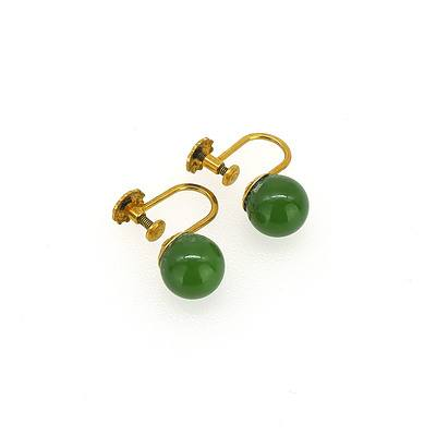 9ct Yellow Gold Screw on Earrings with Greenstone Balls
