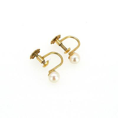 14ct Yellow Gold Earrings with Round Cultured Pearls