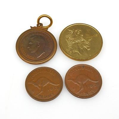 Four Collectable Australian Coins Including an Australian 5 Dollar Gold Coin