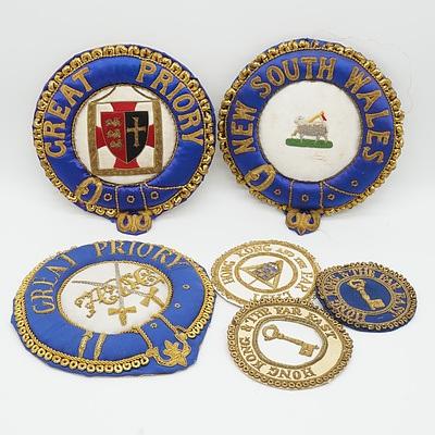 Three Large Antique Masonic Bullion Thread Badges and Three Bullion Blazer Badges