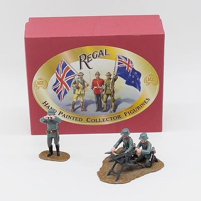 Regal Hand Painted Maxim Machine Gun and Three Man Crew
