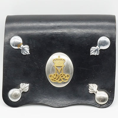 Danish Royal Life Guards Leather Bag with Flaming Cannon Badges and Queen Margrethe of Denmark Monogram