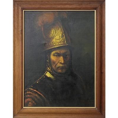 Reproduction of Rembrandt's The Man with the Golden Helmet, Oil on Canvas