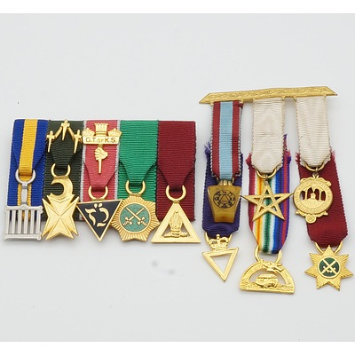 Two Bars of Miniature Masonic Medals
