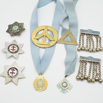 Group of Masonic Badges, Collar Pendants, Apron Tassels and More