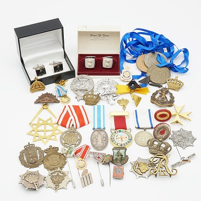 Group of Danish Military Medals, Masonic Badges, Cufflinks and More