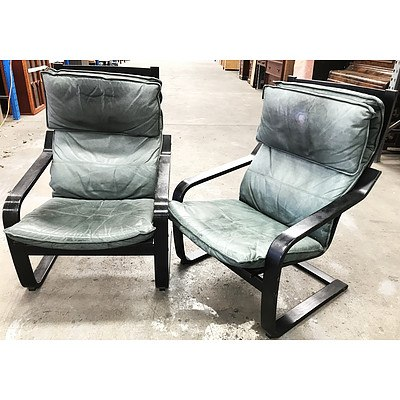 Pair of Ikea Modern Green Leather Armchairs with Ottoman