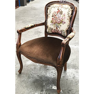 French Louis Style Floral Embroidered Chair