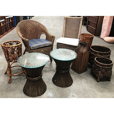 Woven & Cane Furniture & Plant Stands - Lot of 9