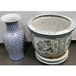 Ornate Ceramic Pot and Vase
