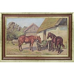 Edmund Fischer (Danish, 1919-1944) Grazing Horses 1908 Scene Oil On Board