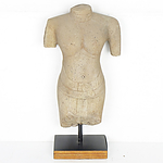 Khmer Style Carved Stone Torso 20th Century