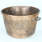 Large Antique Copper Bowl with Iron Side Handles