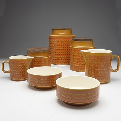 Seven Horsea Saffron Canisters, Jugs and Bowls