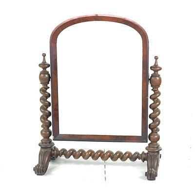 Victorian Mahogany Toilet Mirror with BarleyTwist Supports