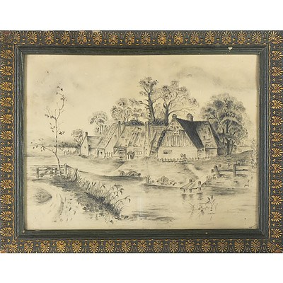 19th Century English School, Cottages by a Stream, Pencil