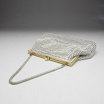 Vintage White Glomesh Clutch with Gold Detail