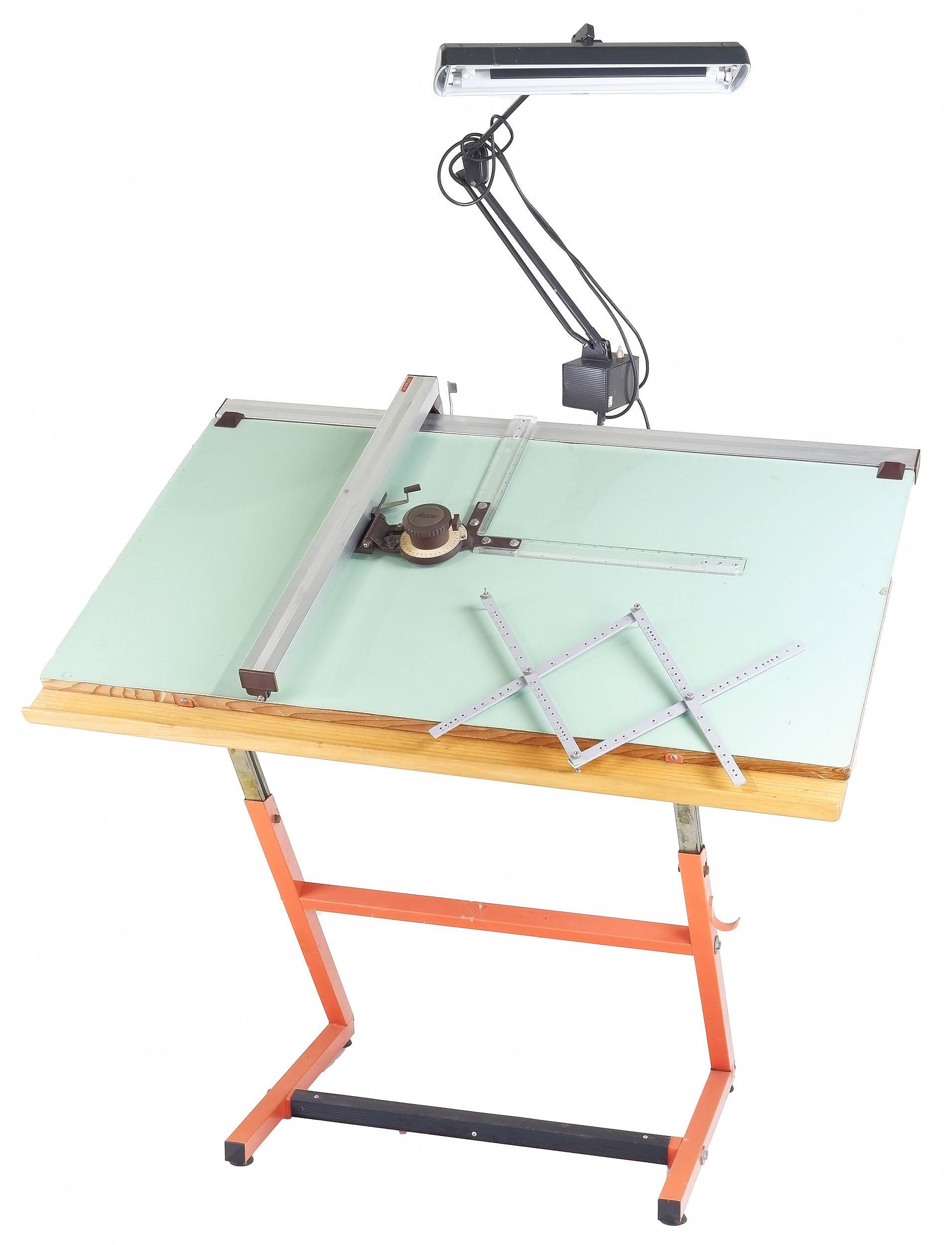 'Modernist Drafting Table with Integral Planet Lamp'