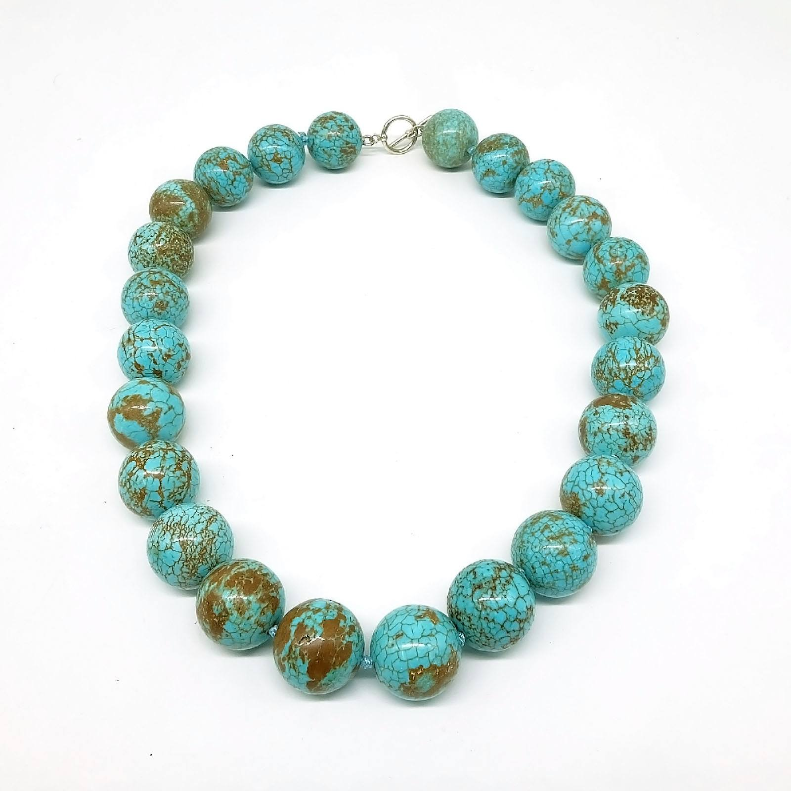 'Turquoise Necklace 19.5mm Round Green Blue Beads '