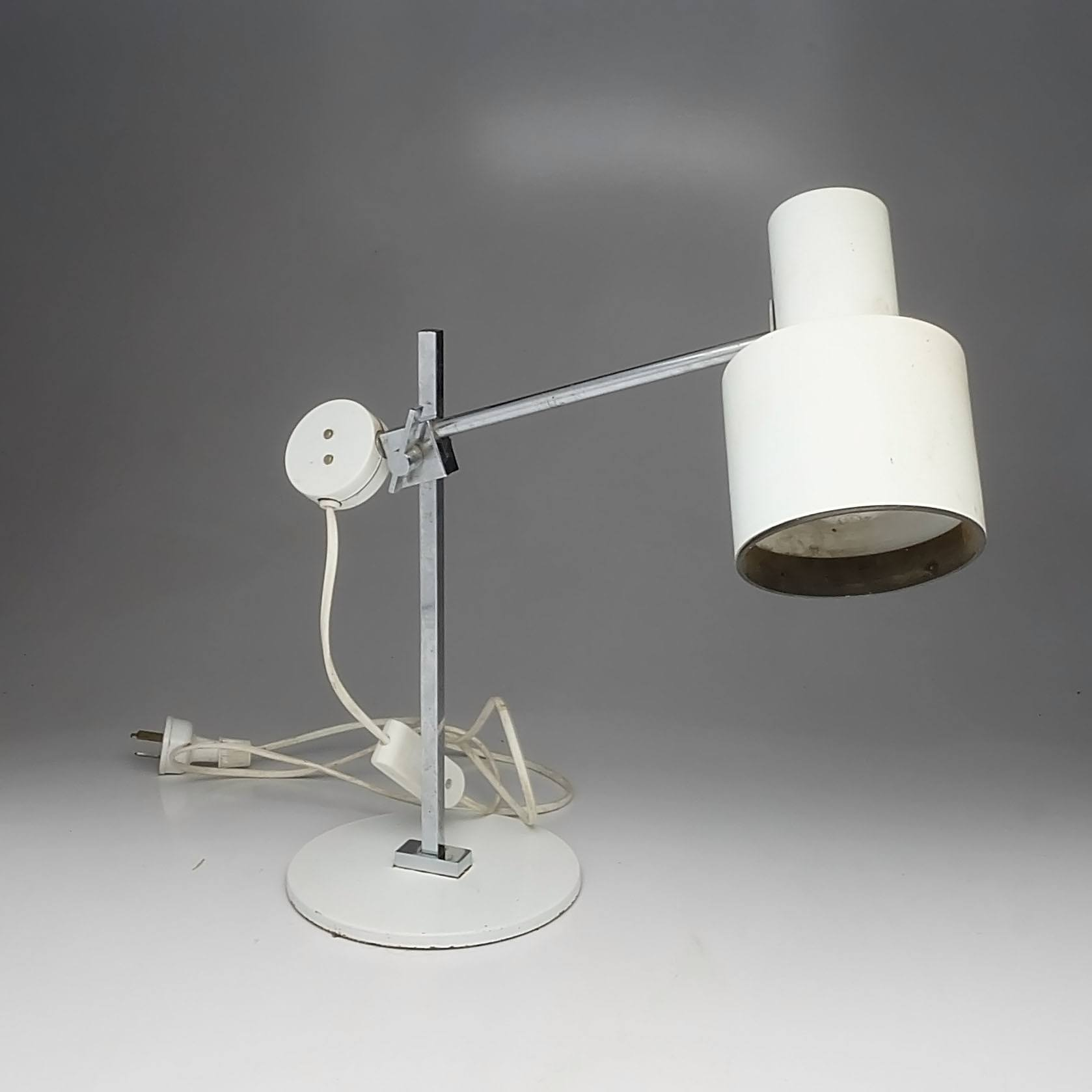 'Danish Chromed and Painted Metal Articulated Table Lamp'