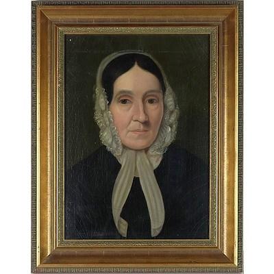 Pair Antique Portraits Oil On Canvas 19th Century