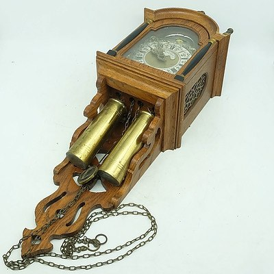 Vintage Oak Framed Pendulum Wall Clock Inscribed Tempus Fugit (Time Flies)