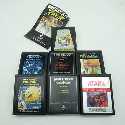 Group of Seven Atari Games, Including Pacman, E.T. The Extra-Terrestrial and More