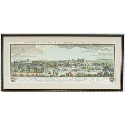 Antiquarian Hand Coloured Engraving of The North-West Prospect Of The University of Cambridge
