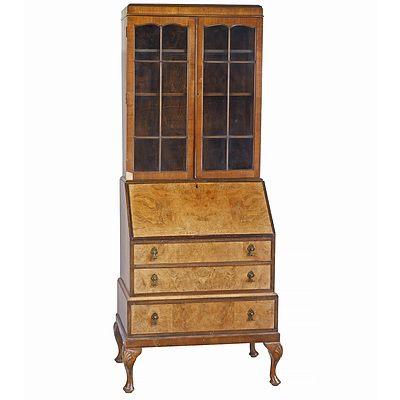 1920s Walnut and Burr Walnut Veneered Bureau Bookcase