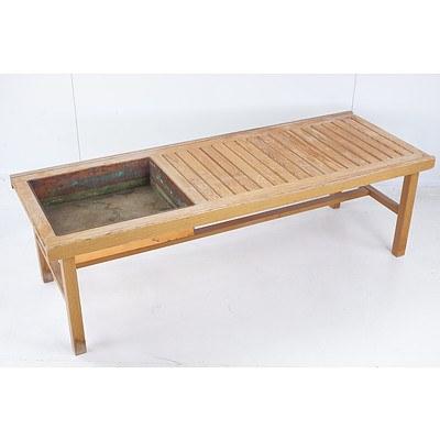 Retro Danish Pine Table With Copper Planter Insert
