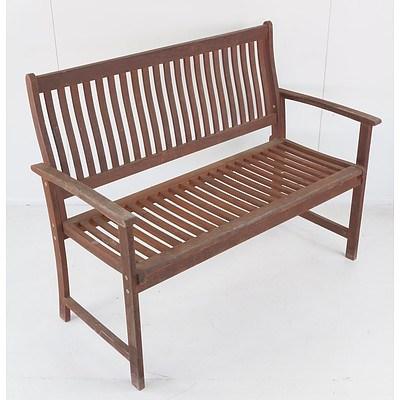 Stained Hardwood Garden Bench