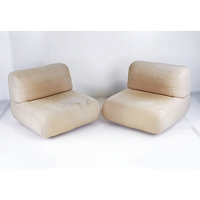 Pair of 1970s Modernist Lounge Chairs, Unmarked, Likely Denmark or Italy