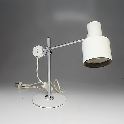 Danish Chromed and Painted Metal Articulated Table Lamp