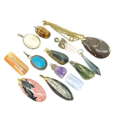 Various Gemstone Pendants, and Two Pieces of Jasper