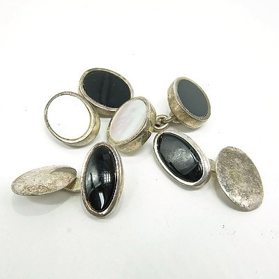 Group Gents Cufflinks, Sterling Silver and Onyx and Another Sterling Silver, Onyx and Mother of Pearl
