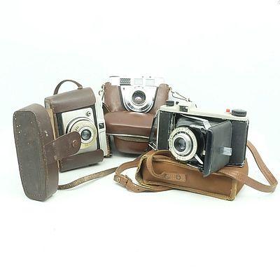 Three Vintage Cameras Including Ilford Sporti, Kodak Dakon II and A Kodak Retinette