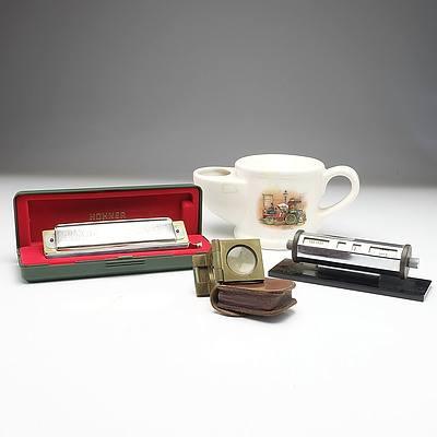 Wade Shaving Mug, A Franks Magnifying Glass, Hohner Harmonica and A Vintage Desk Calendar