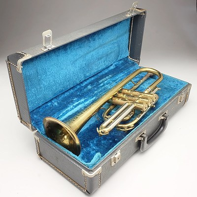 Engraved Brass Trumpet With Shell Tops On Valves