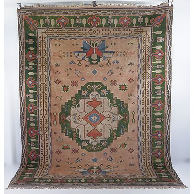 Large Vintage Turkish Anatolian Hand Knotted Wool Pile Rug, Faded