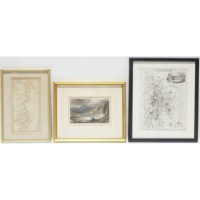 Antique Hand Coloured Topographical Plan Of Cambridge, An Antique Chromolithograph, And A Framed Antique Military Lithograph