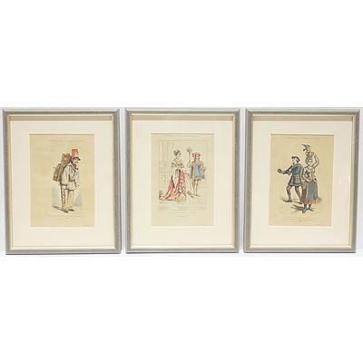 Seven Framed Antiquarian Hand Coloured Costume Engravings