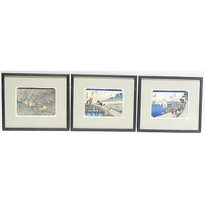 Five Reproduction Woodblock Prints After Hiroshige 52 Stations of Hokkaido